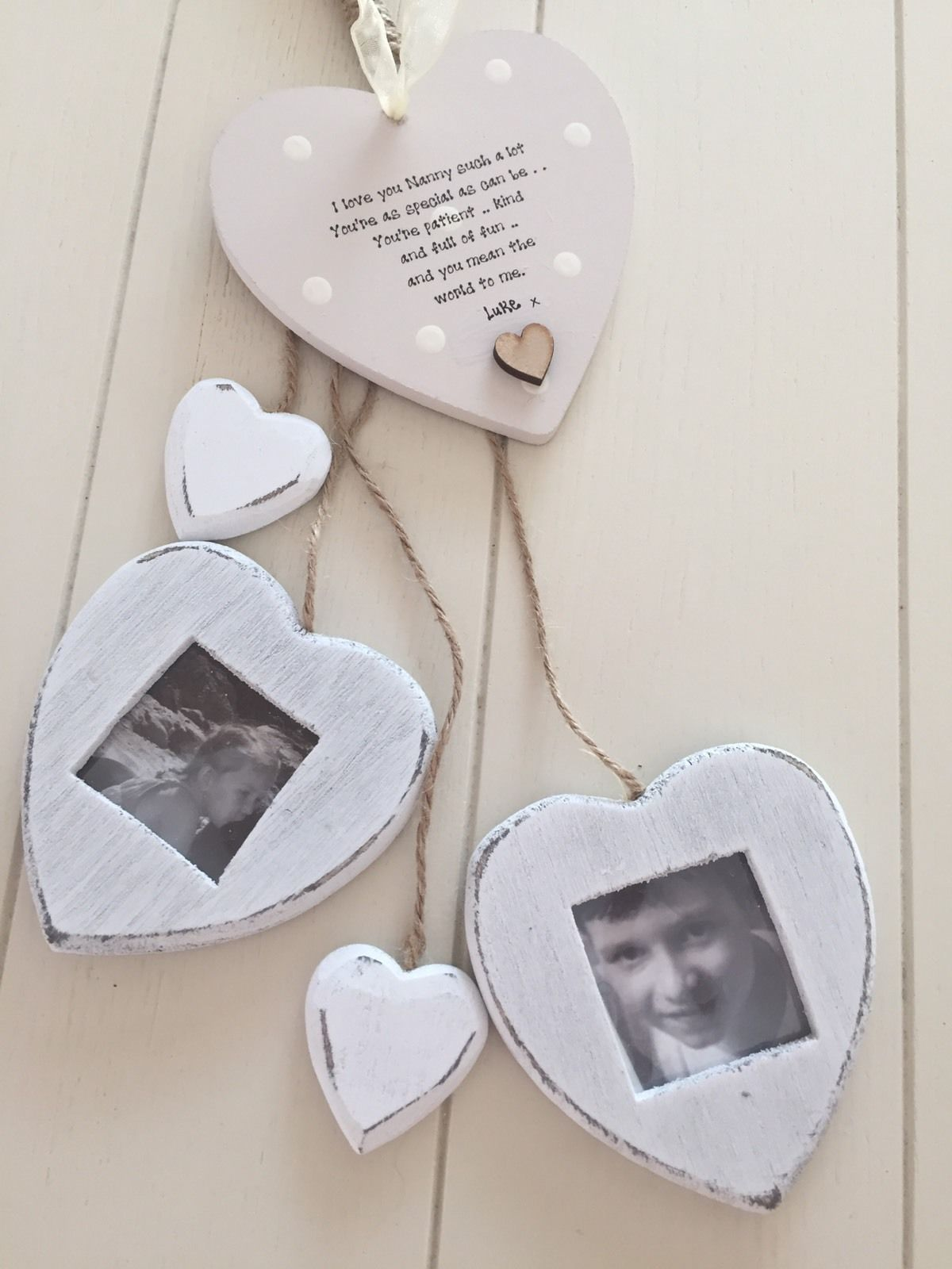 Shabby Personalised Chic Hearts Photo Frame Nana Nanny Grandma